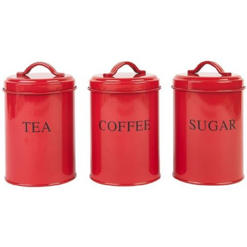 Retro Red Metal Tea Coffee Sugar Canister Tins